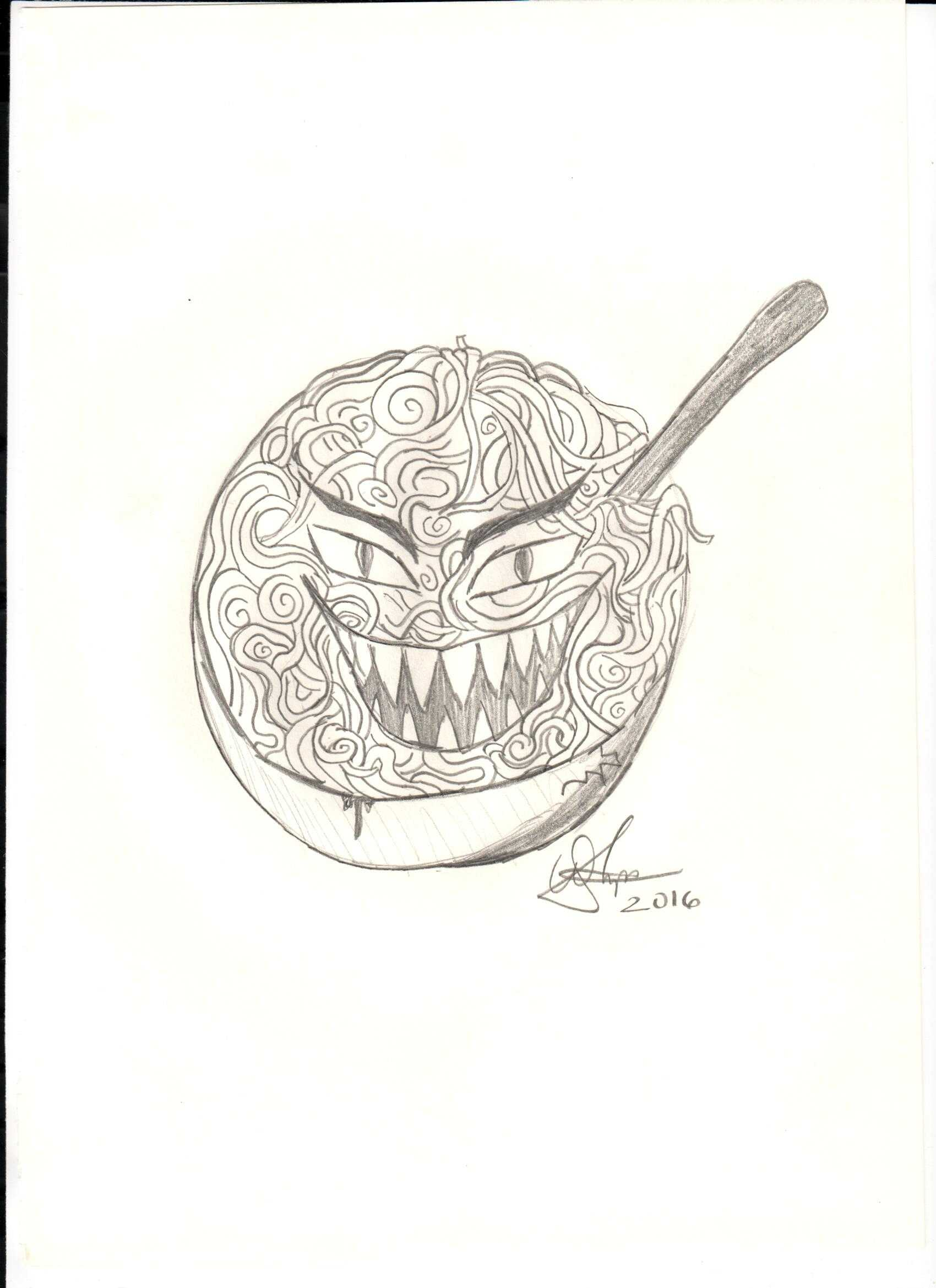 A bowl of leering pasta. Creepy objects are just some of the things you will find in Creepypasta stories.