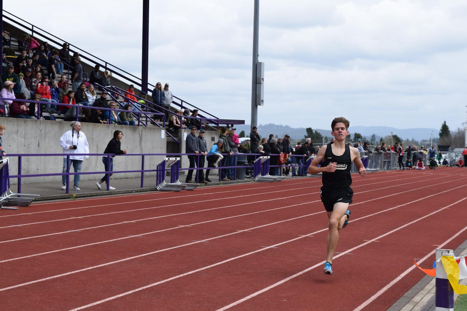 Laguna's Varsity runner Sebastian comes in first for Laguna, and second in the race, while the the team was away in Oregon.