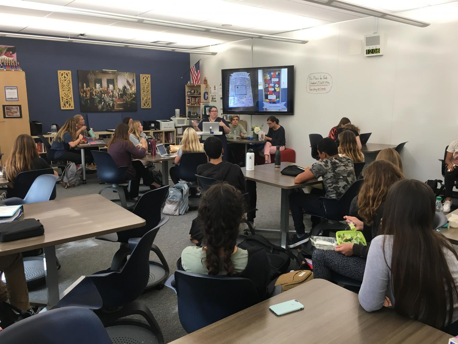 Cowles introduces the No Place For Hate student representatives to the goals of the program during the club's first meeting on Monday October 1. Cowels has worked hard to help make LBHS a No Place For Hate School.