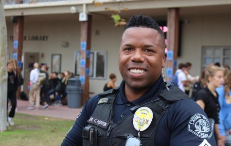 Coporal Cornelius Ashton takes a break from greeting students in the LBHS quad. Corporal Ashton has already begun establishing trusting relationships at all four of the district's schools.