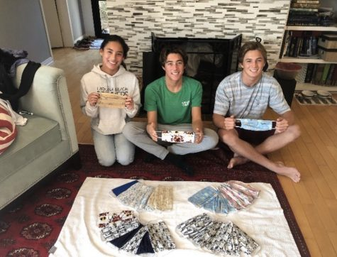 The club founders of Sewing for SoCal. From left to right: Myha Pinto, Michael Pinto, and Jackson Golden. (Taken by Evan Pinto.)