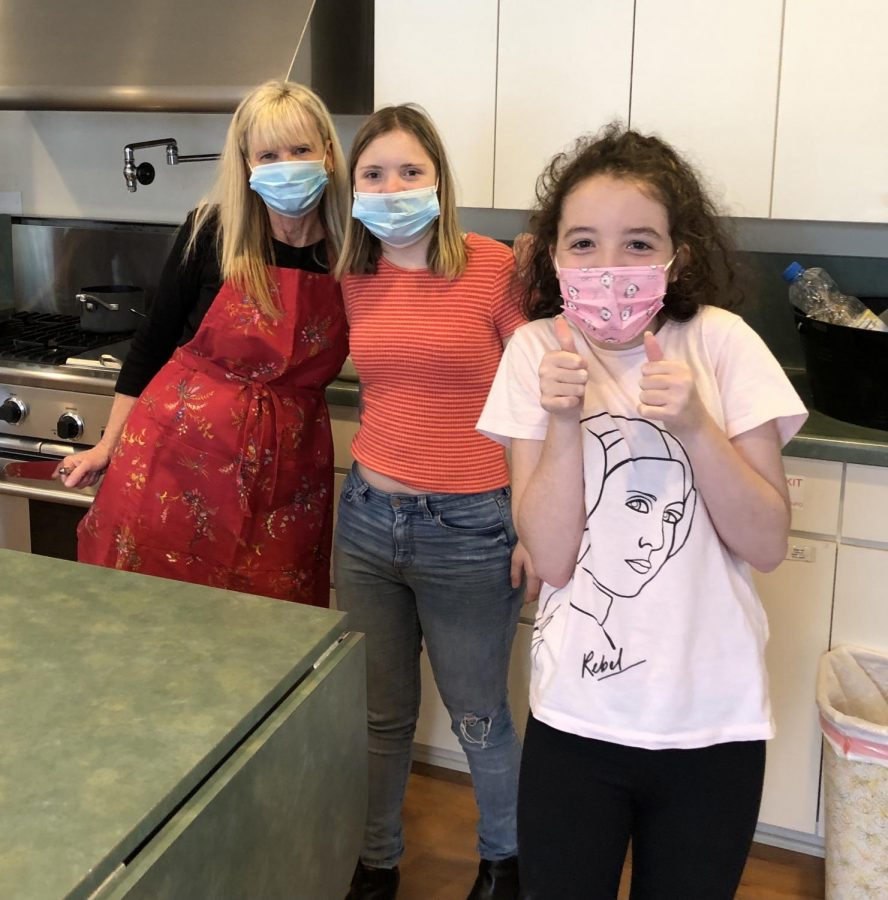 Irene White (left) participates in a cooking class with students Mia Rommerswinkel (middle) and Zoey Bullington (right). This class was with LBHS vocational students at the Assistance League.