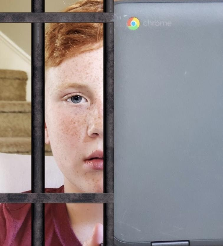Thurston middle-schooler Dane Seybold peers out from his Chromebook prison. Students everywhere have endured the inescapable consequences that come along with all the benefits of online learning.