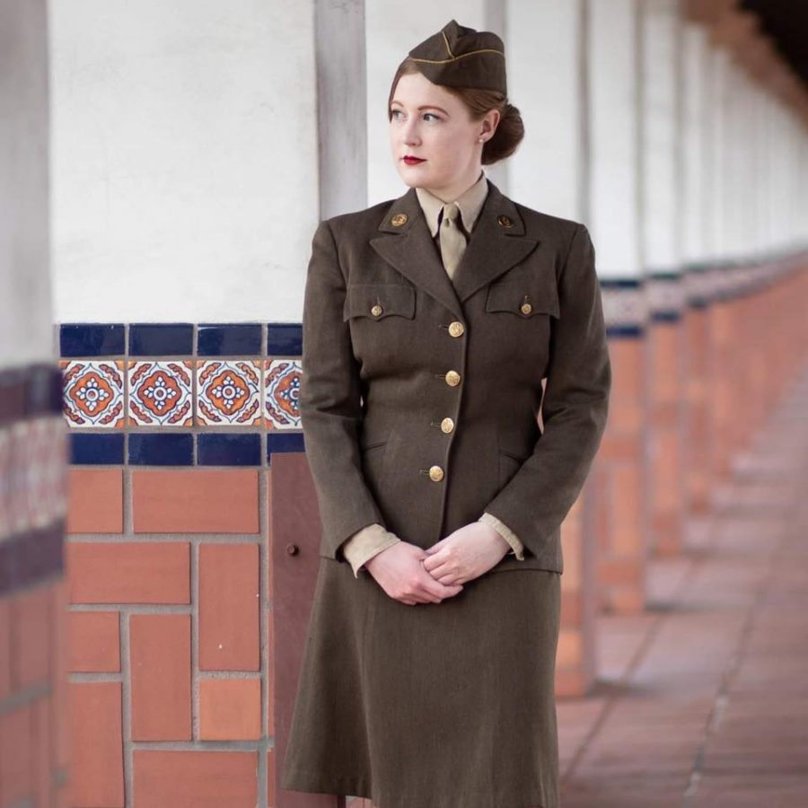 Ms. Anderson poses in her authentic WWII outfit for a candid shot. The SoCal WACs, which is the organization Ms. Anderson reenacts for, allows women with a passion for the 40's and 50's to explore their interests.