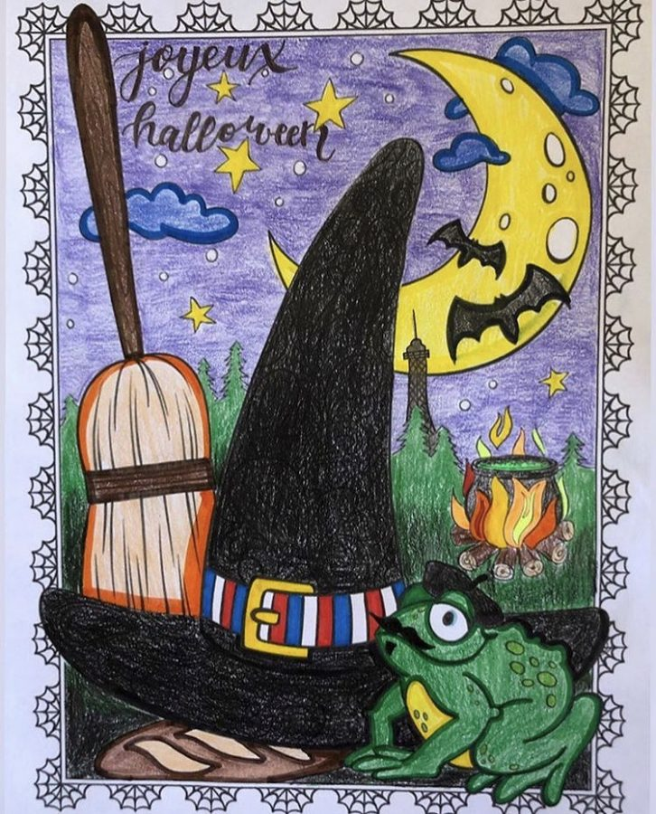 Sophomore+Lauren+Trautenberg+displays+her+coloring+page+that+won+first-place+in+the+French+Club+Halloween+contest.+She+also+has+an+Instagram+art+account%21